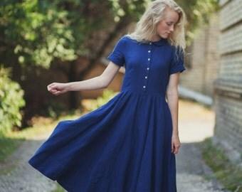 Navy Blue Dress, Linen, Women Fashion, Hand Made dress,  Loose Dress, Women clothing, Blue Dress