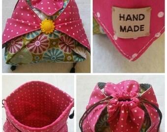 Girls MIni Drawstring Bag, Girls origami Drawstring Bag, Candy Bag, TREASURE Bag for little girls.