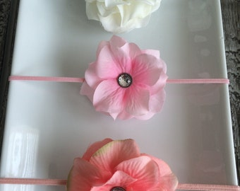 White, Light Pink, Coral Petal Flower Elastic Baby/Toddler Girl Headband Set YOU CHOOSE SIZE (set of 3)