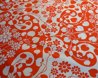 Home Furnishing 1970s Coral Pink Fabric. Sundour Ascoli Cotton Fabric. Remnant Length 1m