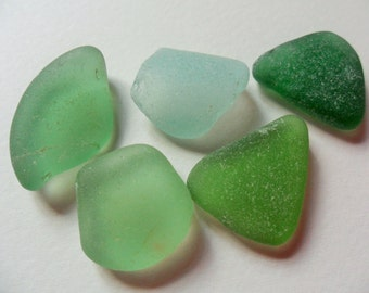 5 chunky green & seafoam sea glass - Lovely English beach find pieces.
