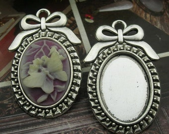 4 Pcs (18x25mm)Silver Plated Plated Cabochon Pendant Base(1825-002)
