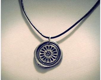 Silver rose window wax seal pendant