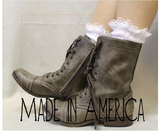 Lace combat boot socks |  MISS TORI in White | womens short boot socks | lace ankle socks, boot cuffs leg warmers Catherine Cole SLX204L