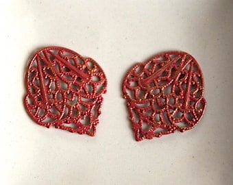 Red Patina Filigree Metal Charm Jewelry Supplies -27X22mm- 2 Pieces