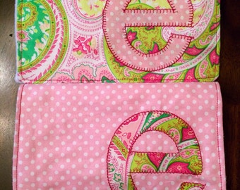 Personalized Bib Burp Cloth Gift Set of 2 Polka Dot & Paisley Baby girl with Appliqued Initial