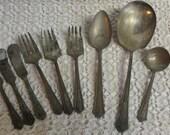 Vintage Silver Plate Flatware Pieces x9 Bouquet Pattern R.C. Co.