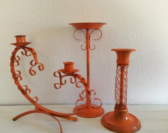 Bright Orange Candlestick Collection - Set Of 3- Distressed - Modern Cottage - Patio Decor Lights -   Centerpiece - Kitsch