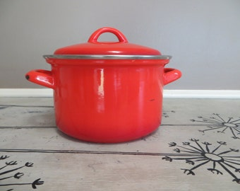 Enamel Covered Stock Pot Enamelware Sunset Orange Vintage Pot Cooking Pot Stovetop Cookware