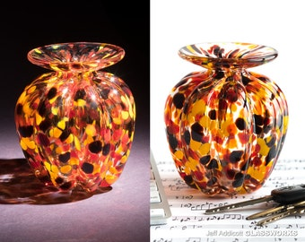 Small Hand-Blown Glass Vase - Ribbed with Hot Color Dots