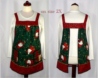 Dancing Santas Pinafore Apron, Christmas no tie apron,  all day apron, loose fitting smock designed by LauriesGiftsBiz, holiday entertaining