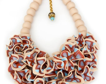 Big and Bold statement necklace, colorful art jewelry, one of a kind handmade necklace, independent artist,
