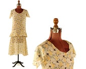 Vintage 1930's Sheer Cotton Yellow Abstract Floral Drop Ruffled Waist Garden Jazz Party Dress S