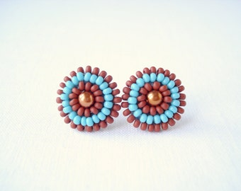 Blue and brown studs, handmade earrings, beaded stud earrings, blue brown, brown stud earrings, blue and brown post earrings, gift ideas