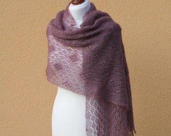 Heather hand knitted luxurious  lace stole, kidsilk shawl./READY TO SHIP/