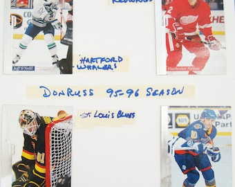 4 DONRUSS 1995 SEASON HOCKEY trading cards. - For  grading see below in description