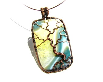 """Tree of Life Pendant  - Earthy Green, and Cream Crystal Agate Cabochon and Brown Wire - 1.5"""" x 3"""" - Cord Included"""