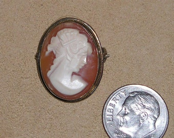 Vintage Signed 800 Silver Charm Or Pendant With Cute Real Carved Shell Cameo Lapel Pin 1960's Jewelry 4152