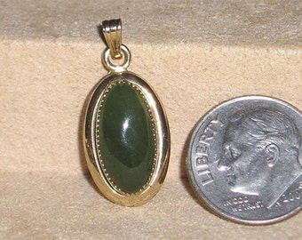 Vintage Gold Filled Charm Or Pendant With Real Jade Cabochon 1970's Signed Jewelry 3062