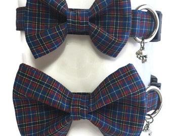 Blue Plaid Bow Tie Dog Collar