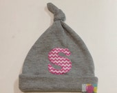 Grey Knotted Baby Hat, Grey Baby Hat, Newborn Hat, Baby Cap, Jersey Baby Hat, Baby Shower Gift, Personalized Baby Hat, Pink Chevron Baby