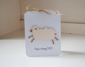 Sheep Lamb First Birthday Party Rustic Vintage Burlap Twine Neutral Baby Shower
