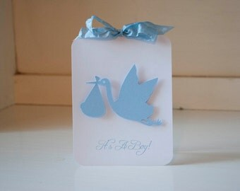 Baby Shower Invitations Stork Baby Boy  Invites Thank You Cards Blue and White