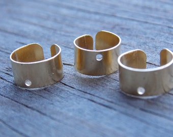 24 Brass Ear Cuffs Gold Tone Brass with Hole to Add Charms 10mm