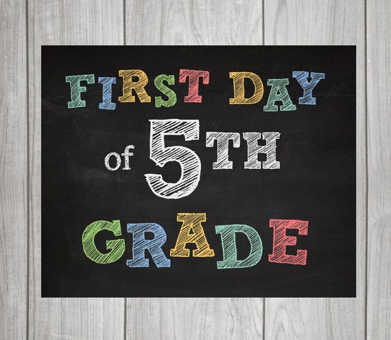 5TH GRADE Chalkboard Signs First Day & Last Day 2 signs