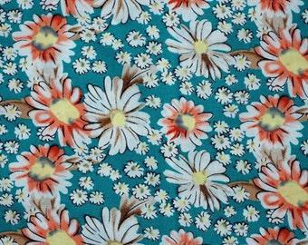 C2016C - 1 meter  Cotton Fabric - Chrysanthemum (blue green) (145cm width)