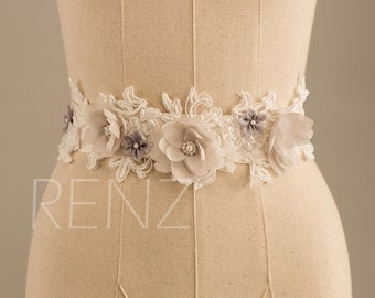 Wedding sash, Bridal belt, Bridal sash, Bridesmaids sash Crystal sash Jeweled Belt, Flower Beading (LA007)