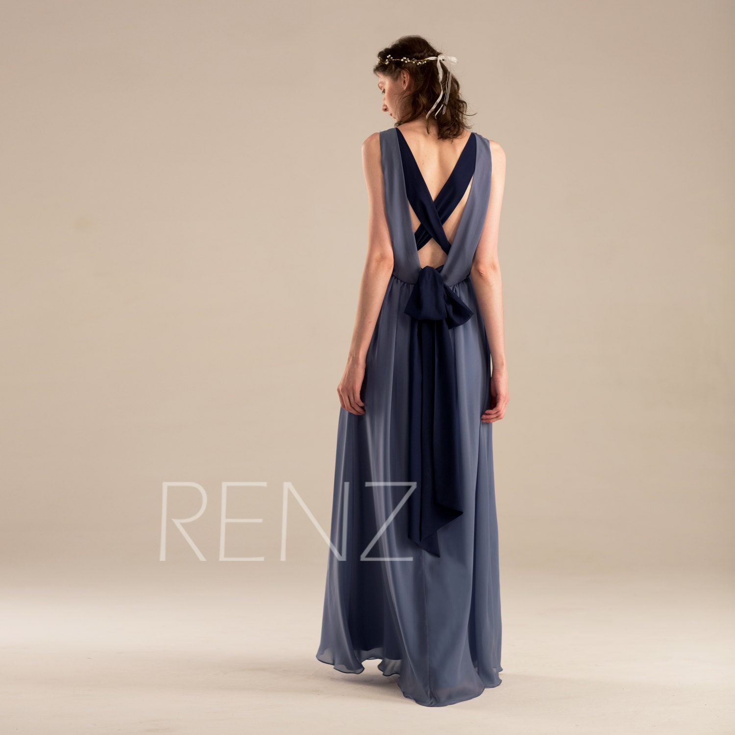 Bridesmaid dress steel blue chiffon wedding dressdraped v zoom ombrellifo Image collections