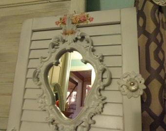 Handmade by shabbyhome, white wall shutter with a ornate framed mirror