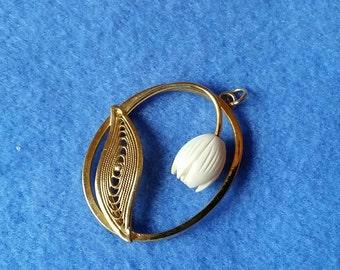 Vintage Goldtone Pendant with Carved Flower