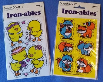 Cute Chicks and Raccoons Vintage Scratch & Sniff Iron-ables