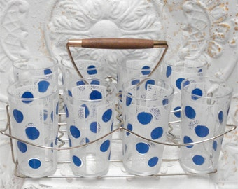50s Vintage Blue Polka Dot Swanky Swigs And Carrier