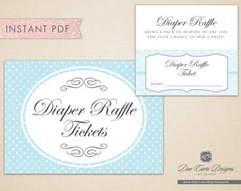 INSTANT PDF, Diaper Raffle Tickets and Sign in Powder Blue Polka Dots, Printable, Download Now