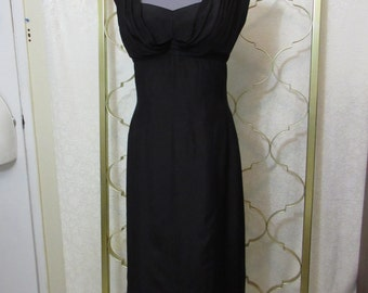 Vintage 1950s-1960s Alfred Shaheen Black Silk Bombshell Wiggle Dress Hawaii M