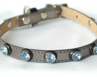 Metallic Leather Dog Collar with Sky Blue Rivets,  Dog collar leather, Jeweled Dog Collar, sizes small to medium