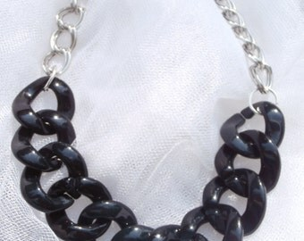Black chain link necklace, acrylic chain link necklace, short black and silver necklace, chunky black necklace, black acrylic chain necklace