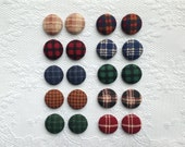 Plaid Fall Fabric Button Covered Earrings