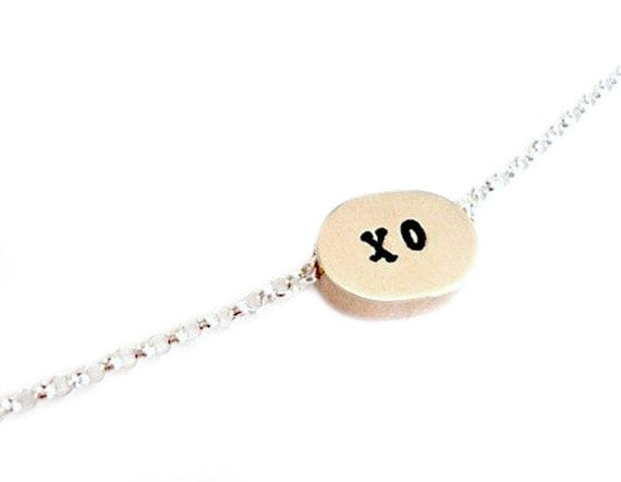 Still Another Hug and A Kiss For You - Free Floating Solid Brass Oval Charm with a Sterling Silver Chain