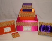 Moroccan theme Wedding Card Box with matching Guest Book/Pen and Ring Bearer Pillow-any colors