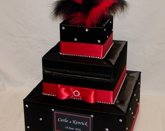 Black and Red Wedding Card Box-BLACK and RED Feather topper-rhinestone accents