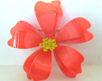 Vintage Enameled Flower Brooch Bright Orange Yellow 60's (item 12)