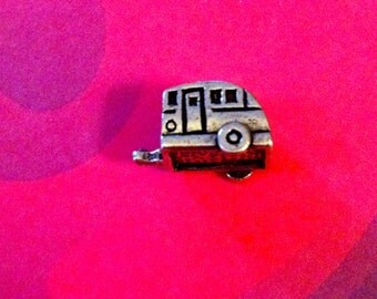 Camper, RV trailer antiqued silver european charm 17 mm in size with 5 mm hole for bracelet or necklace