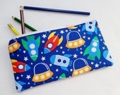 Space Ship print Pencil Case/ Crayon Case/Makeup Bag/ Cosmetic Case/ Ready to Ship
