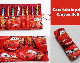 Cars red fabric print Crayon Roll Up. Ready to Ship