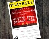 Playbill Invitations, Broadway theme, Bridal Shower, Birthday, Themed party invitations