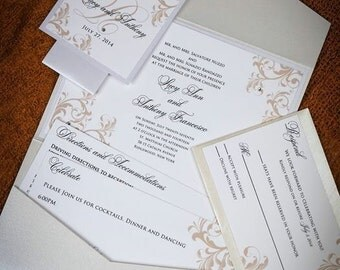Pocket Wedding Invitations-Crystal Wedding Invites - Wedding Invitations - Pocketfold Wedding Invitations - Flourish Wedding Invites